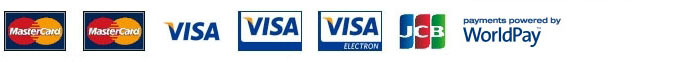 Accepted payment methods: Mastercard, Mastercard Debit, Visa, Visa Debit, Visa Electron, JCB. Payments powered by WorldPay